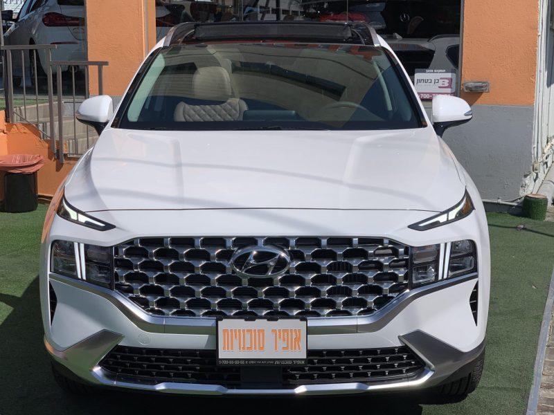 חזית הרכב יונדאי סנטה פה LUXURY 4X4 לבן 2021 קניית רכבי יוקרה 0 קמ