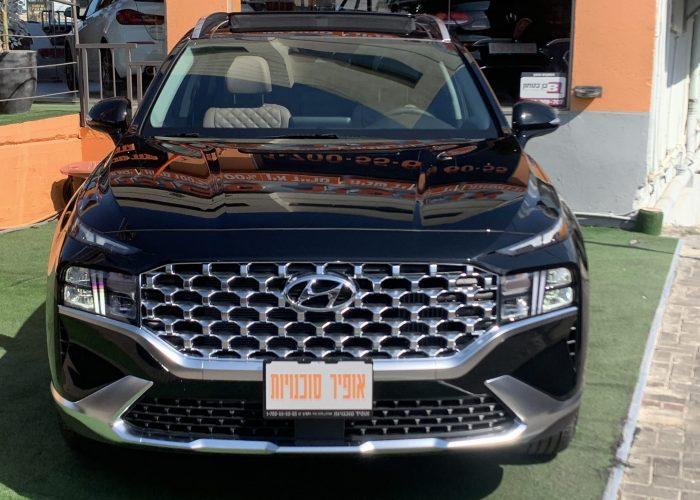 חזית הרכב יונדאי סנטה פה LUXURY 4X4 שחור 2021 קניית רכבי יוקרה 0 קמ