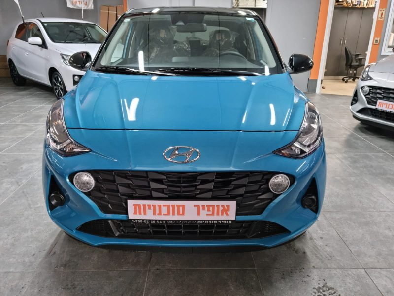 צילום חזית של הרכב יונדאי i10 PRIME PLUS תכלת 2021 קניית רכב חדש